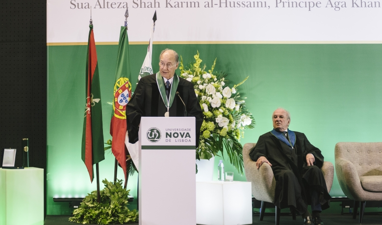 His Highness the Aga Khan delivers his acceptance remarks upon receiving an Honorary Doctorate from Universidade NOVA de Lisboa as Dr. Francisco Pinto Balsemão, Patron of the Doctorate looks on.